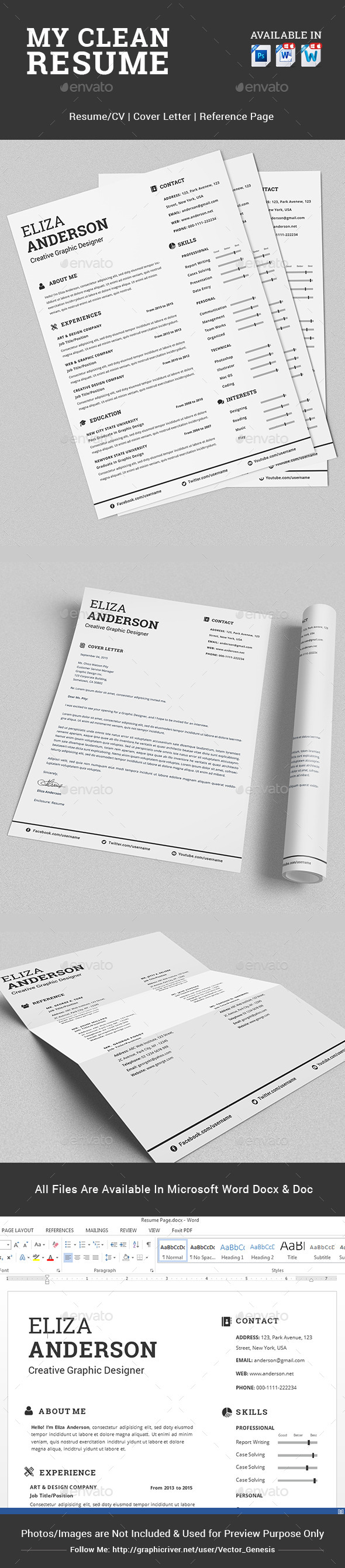 GraphicRiver My Clean Resume CV Set with MS Word 10396489