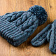 gray knitting cap and mittens on wooden background - PhotoDune Item for Sale