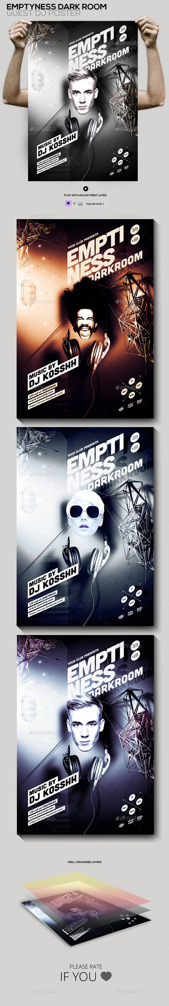 GraphicRiver Emptiness Darkroom Guest Dj Party Flyer Poster 10397688