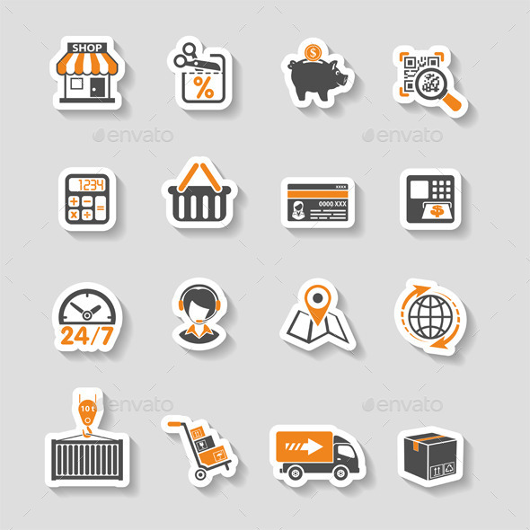 GraphicRiver Internet Shopping and Delivery Sticker Icon Set 10397710