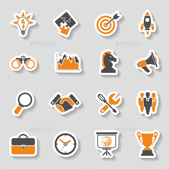 GraphicRiver Business Strategy Icon Sticker Set 10397717