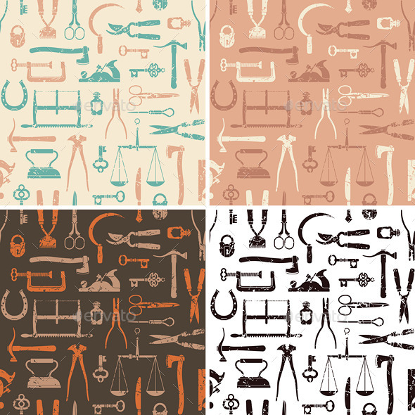 Vintage Tools and Instruments Seamless Pattern