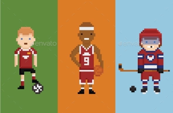 GraphicRiver Pixel Art Style Sportsman 10398279