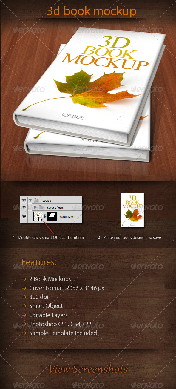 Graphic River 3D Book Mockup 01 Graphics -  Product Mock-Ups 1047833