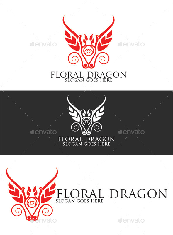 Floral Dragon Logo Template