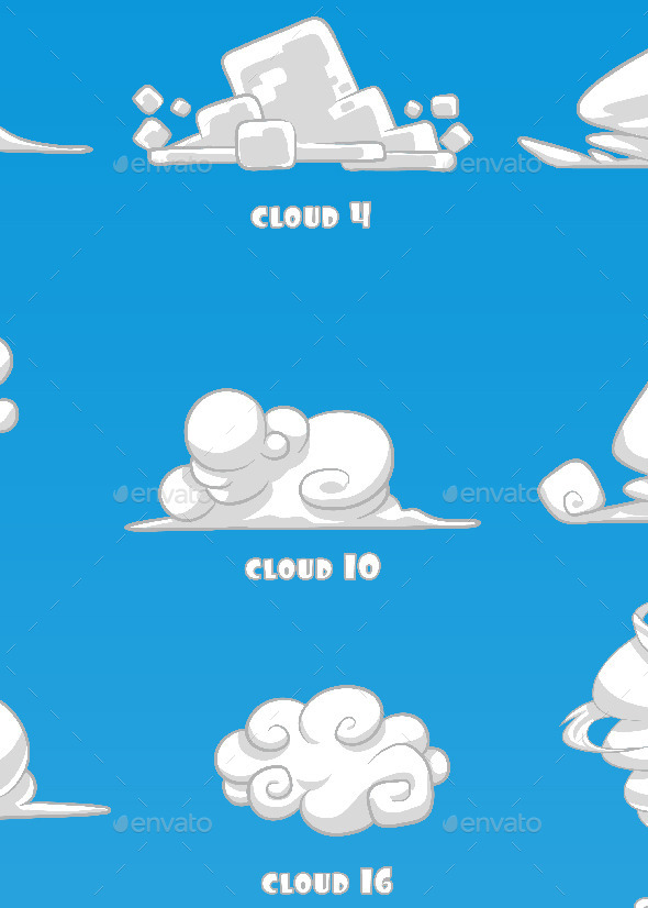 GraphicRiver Vector Cartoon Clouds 10353860