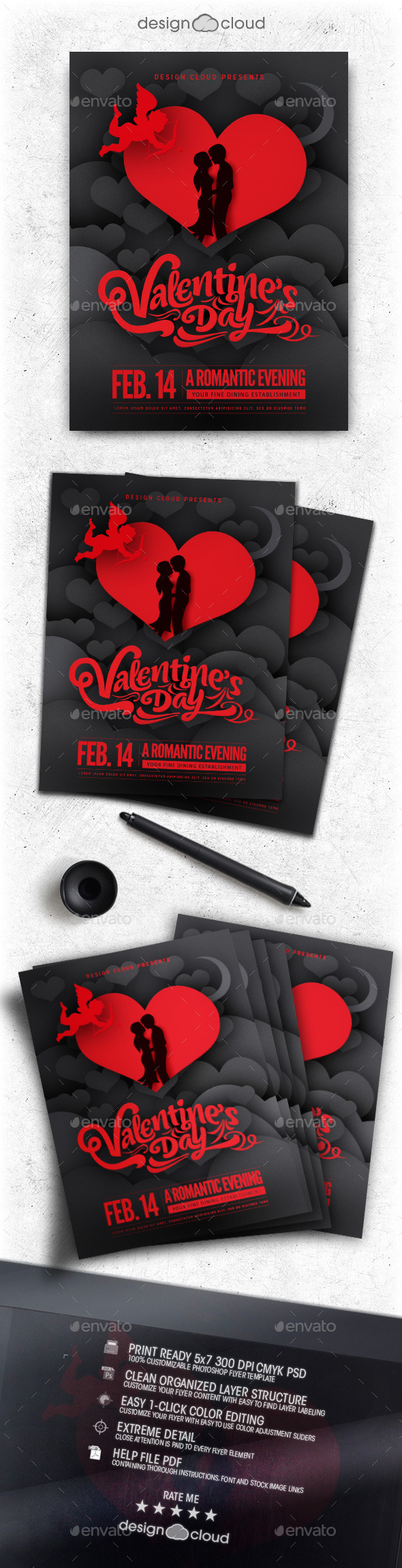 Elegant Shaded Valentine Flyer Template