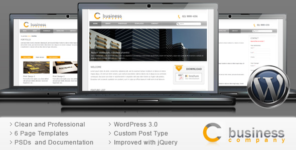 Corporate Business Wordpress Theme - Clean Web 2.0