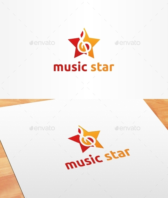 GraphicRiver Music Star Logo Template 10399307