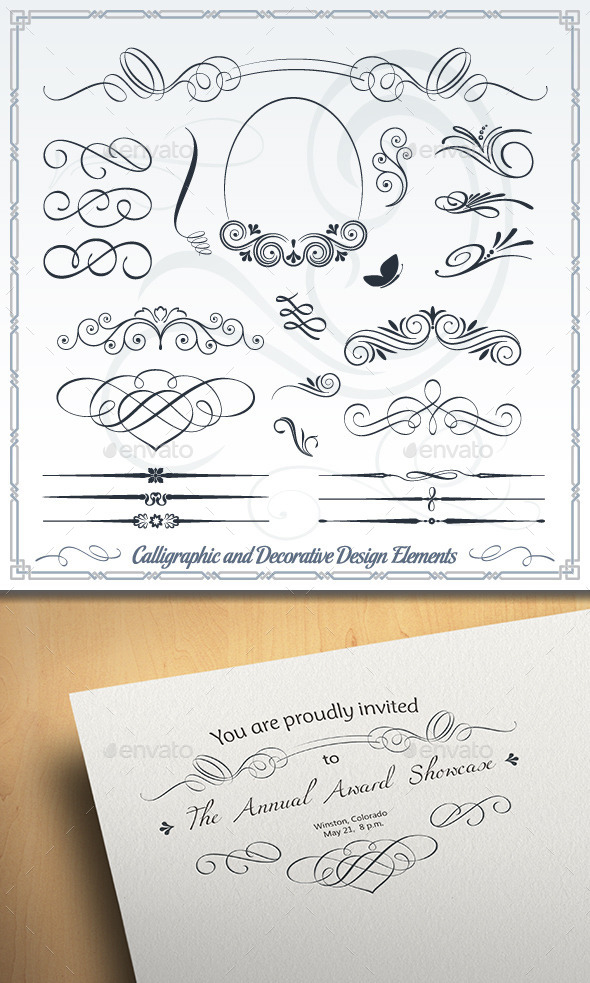 GraphicRiver Calligraphic and Decorative Design Elements 10399330
