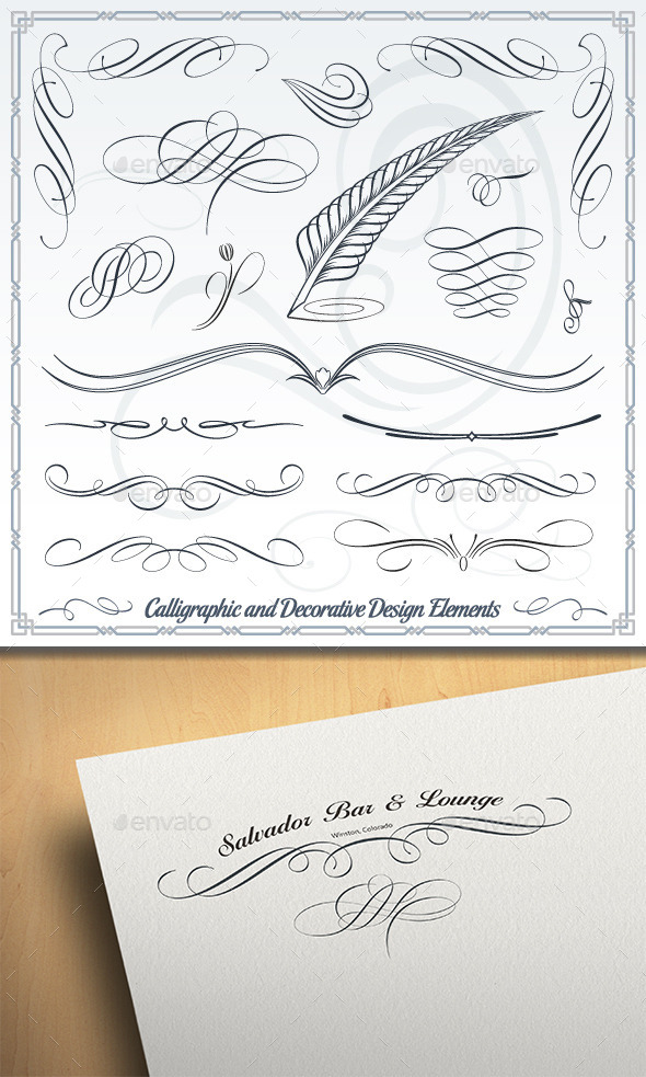 GraphicRiver Calligraphic and Decorative Design Elements 10399366