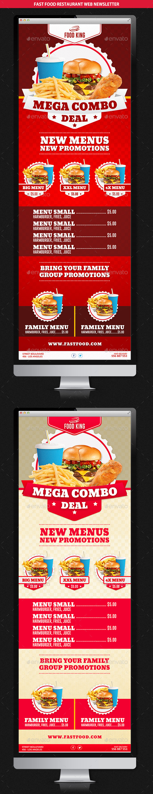 GraphicRiver Restaurant Fast Food Web Newsletter 10309620