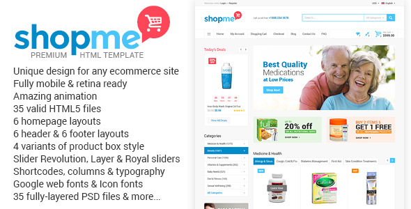 ThemeForest ShopMe Ecommerce Multipurpose HTML Template 10330584