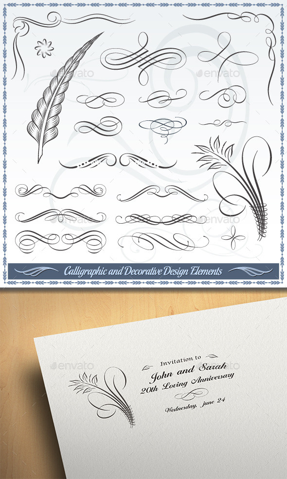 GraphicRiver Calligraphic and Decorative Design Elements 10399398