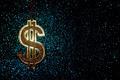 Gold Dollar Sign on Glittering Background - PhotoDune Item for Sale