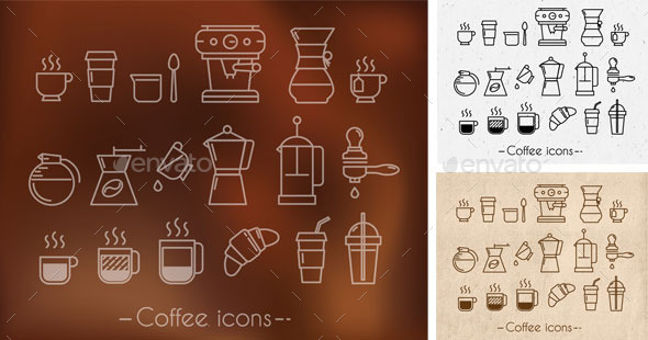 GraphicRiver Coffee theme icons 10399758