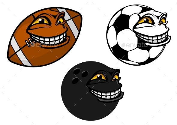 GraphicRiver Grinning Cartoon Sport Balls 10399895
