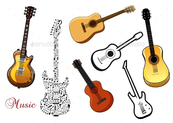 GraphicRiver Set of Musical Guitars 10399991
