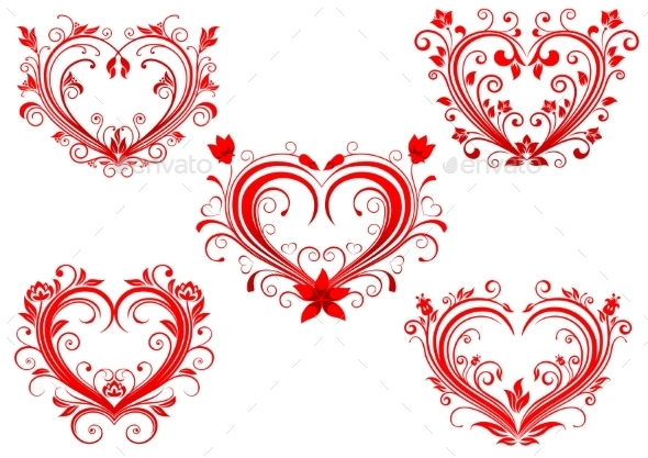 GraphicRiver Floral Red Valentine Hearts Set 10400024