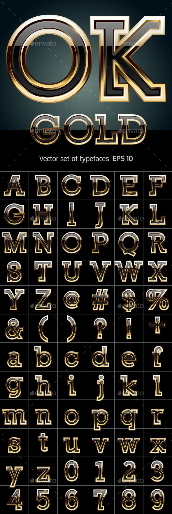 GraphicRiver Black Font with Golden Border 10400081
