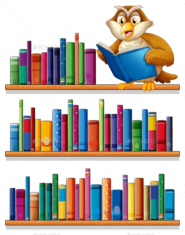 GraphicRiver Owl on a Bookshelf 10400114