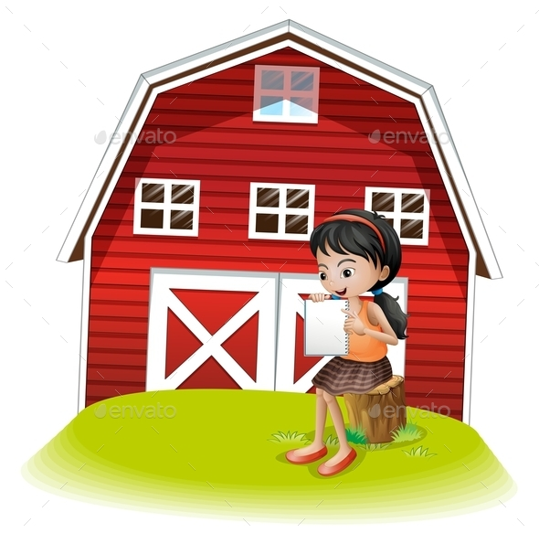 GraphicRiver Girl in Front of Barnhouse 10400142