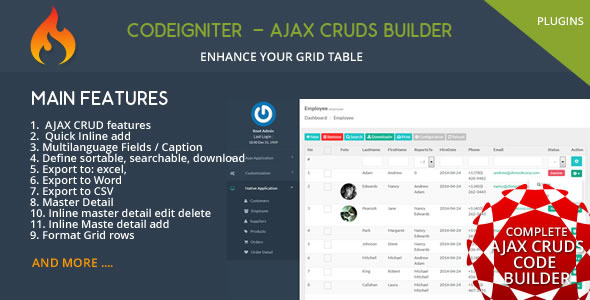 CodeCanyon Codeigniter CMS Ajax CRUD Plugins 10400338