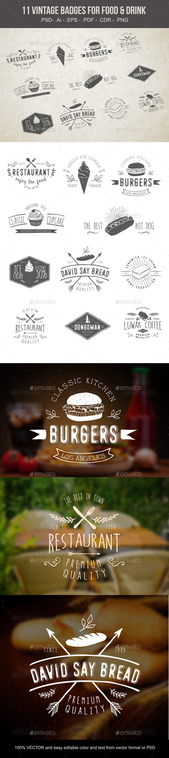 GraphicRiver Vintages Badges Food and Drink 10400431
