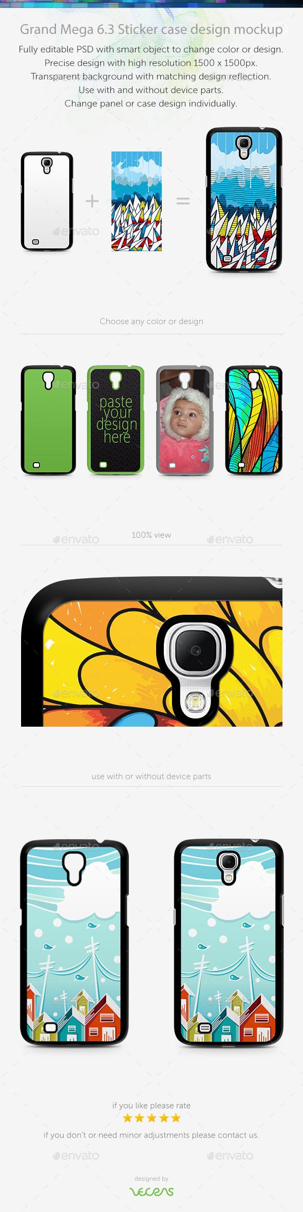Grand Mega 6.3 Sticker Case Design Mockup