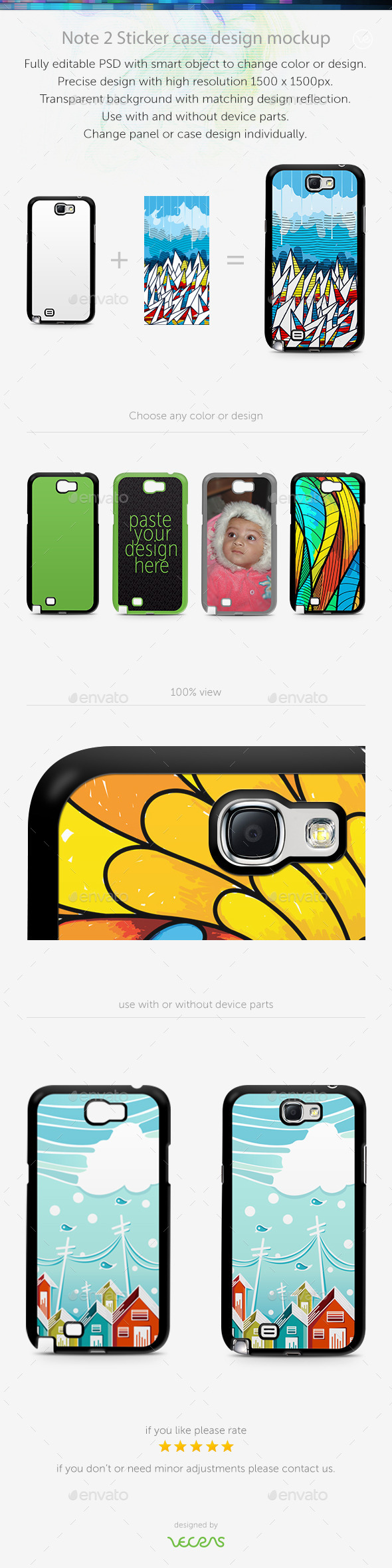 GraphicRiver Note 2 Sticker Case Design Mockup 10400934