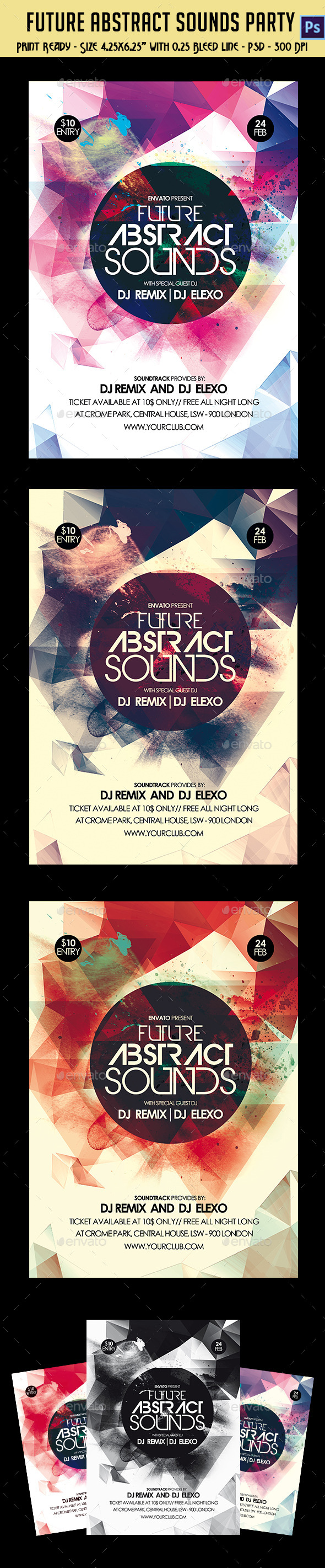 GraphicRiver Future Abstract Sounds Party Flyer 10400991