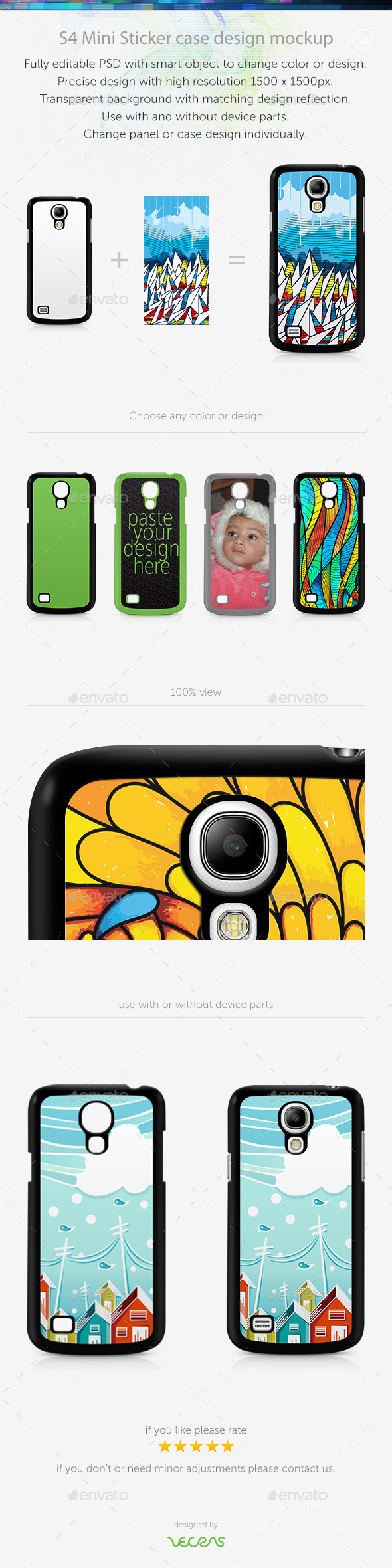 S4 Mini Sticker Case Design Mockup
