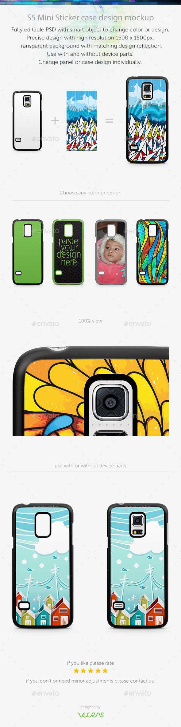 GraphicRiver S5 Mini Sticker Case Design Mockup 10401126