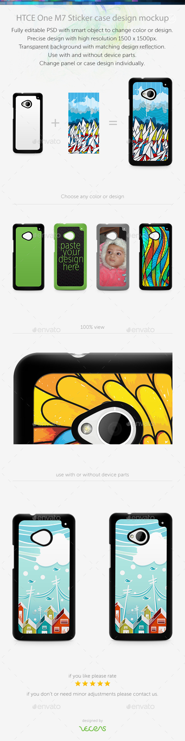 GraphicRiver HTCE One M7 Sticker Case Design Mockup 10401146