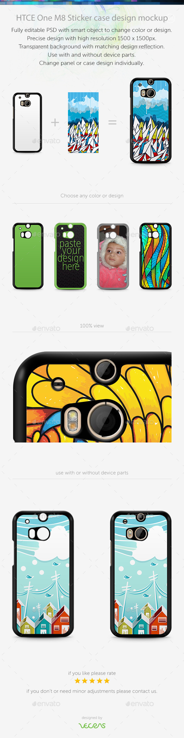 GraphicRiver HTCE One M8 Sticker Case Design Mockup 10401363