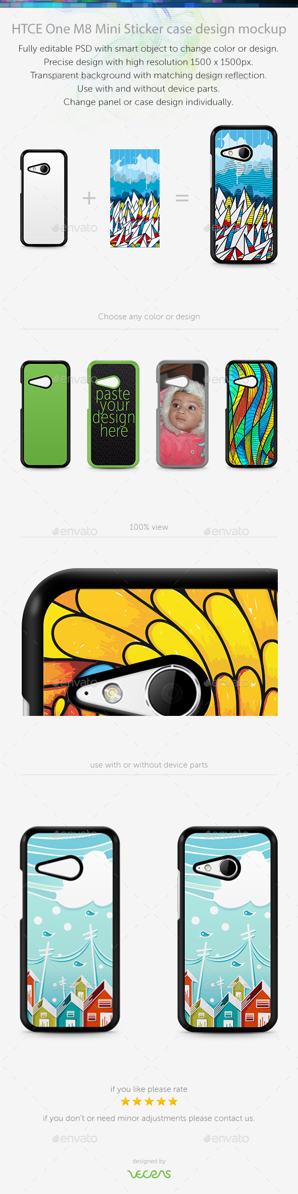 GraphicRiver HTCE One M8 Mini Sticker Case Design Mockup 10401456