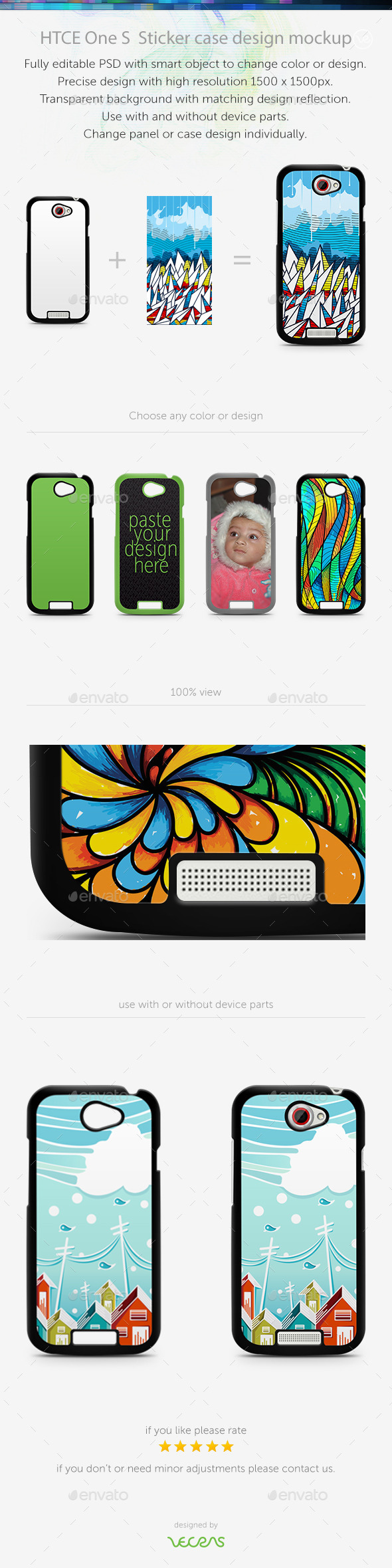 HTCE One S Sticker Case Design Mockup