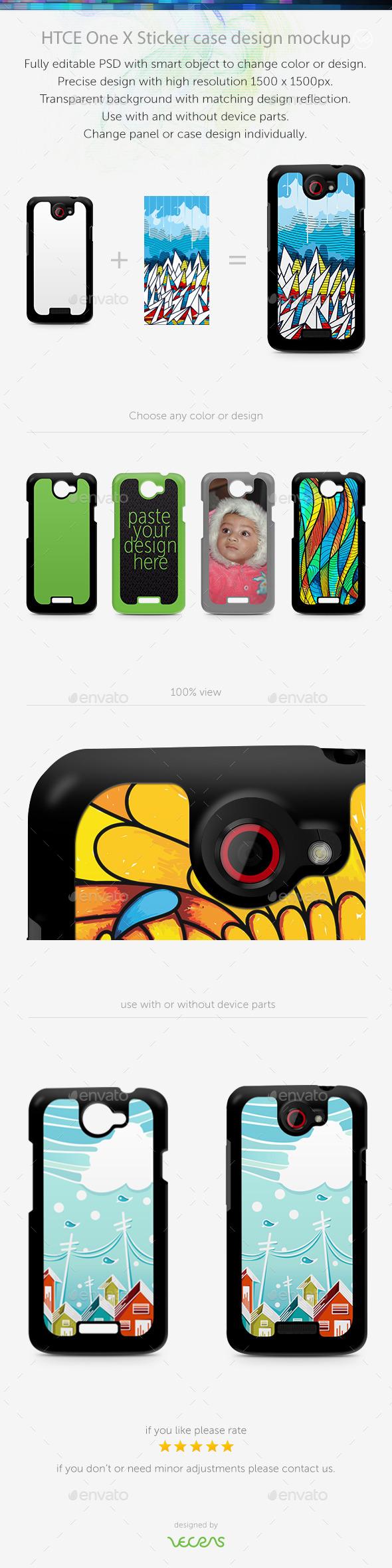 GraphicRiver HTCE One X Sticker Case Design Mockup 10401563