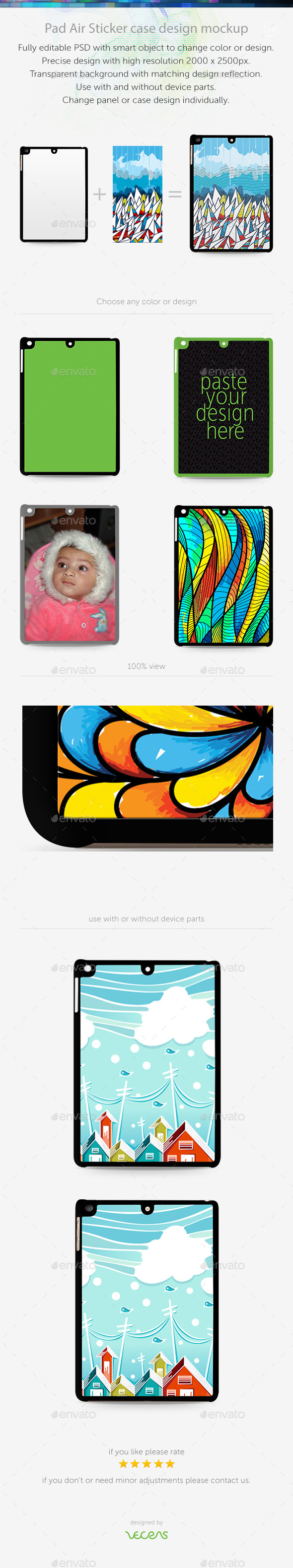 GraphicRiver Pad Air Sticker Case Design Mockup 10401802