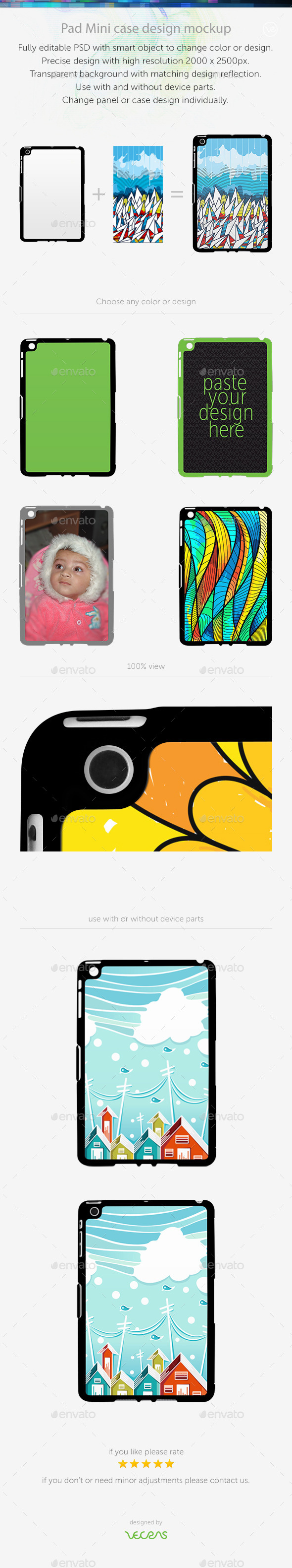 GraphicRiver Pad Mini Sticker Case Design Mockup 10401931