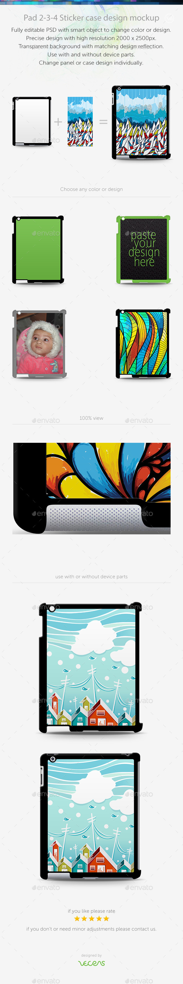 GraphicRiver Pad 2-3-4 Sticker Case Design Mockup 10401946