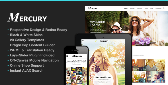 Mercury Responsive Portfolio Photography Theme - Photography Creative