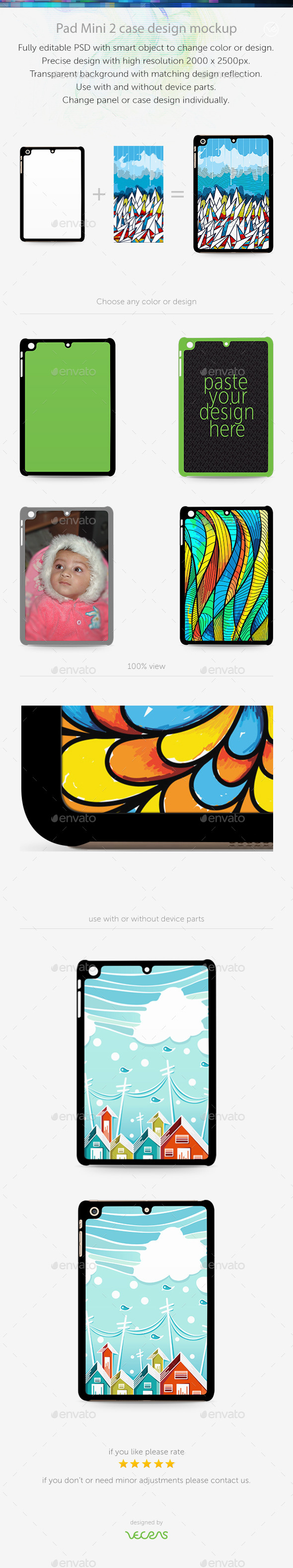 GraphicRiver Pad Mini 2 Sticker Case Design Mockup 10401988