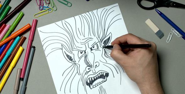 The Man Draws a Fantastic Head