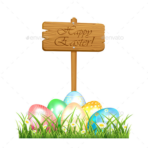 GraphicRiver Easter Eggs and Wooden Sign 10402347