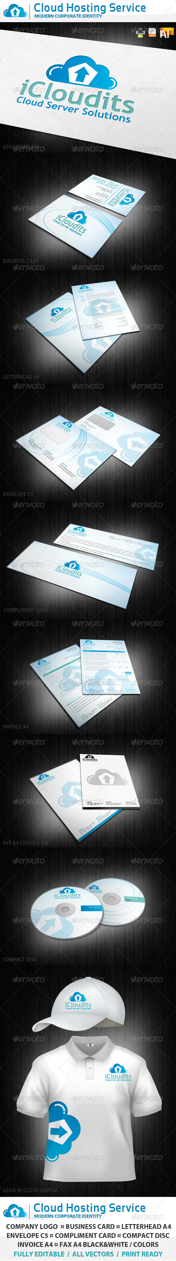 Cloud Hosting Service Corporate Identity - Stationery Print Templates
