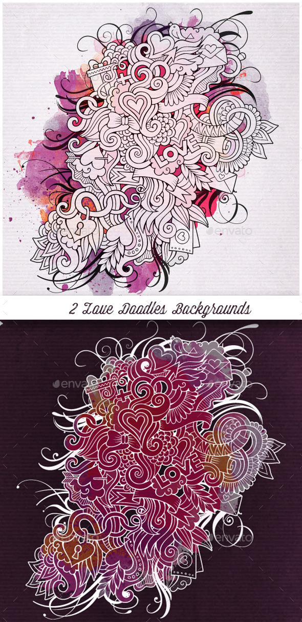 2 Love Doodles Backgrounds