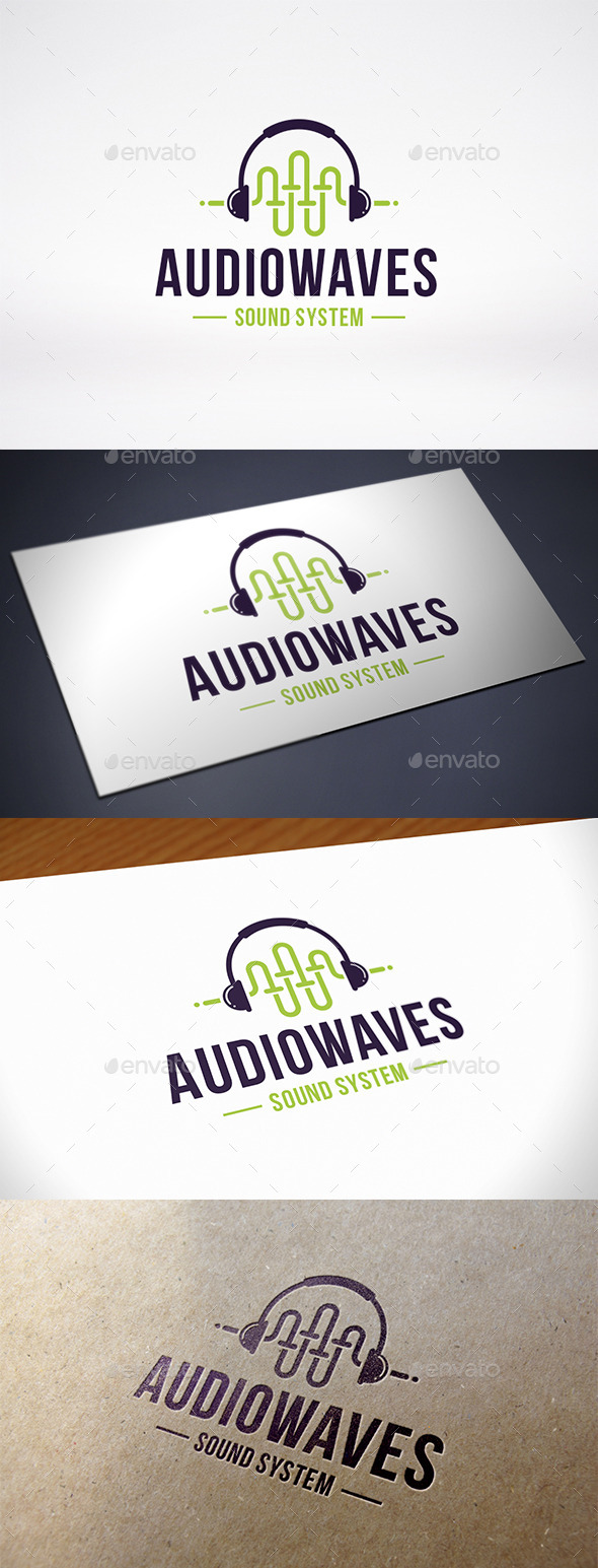 GraphicRiver Sound Wave Headphone Logo Template 10402770