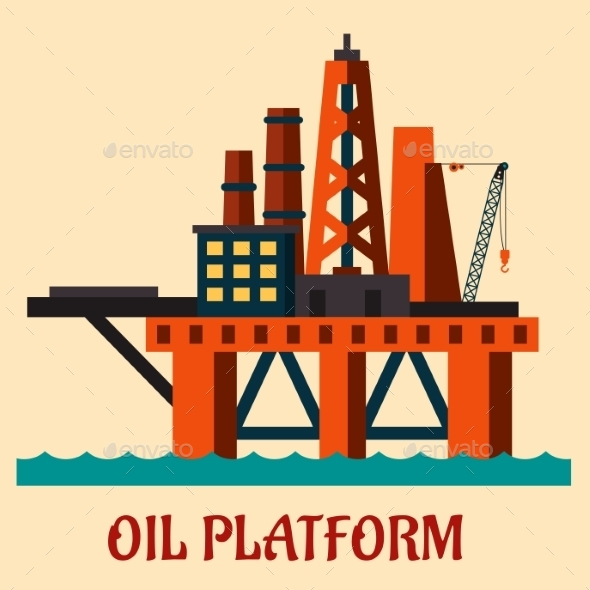 GraphicRiver Cartoon Sea Oil Platform 10402776