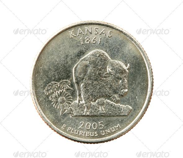 isolated Kansas quarter - Stock Photo - Images